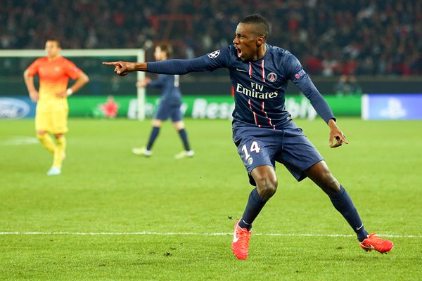 Blaise Matuidi of PSG celebrates his goal v Barcelona