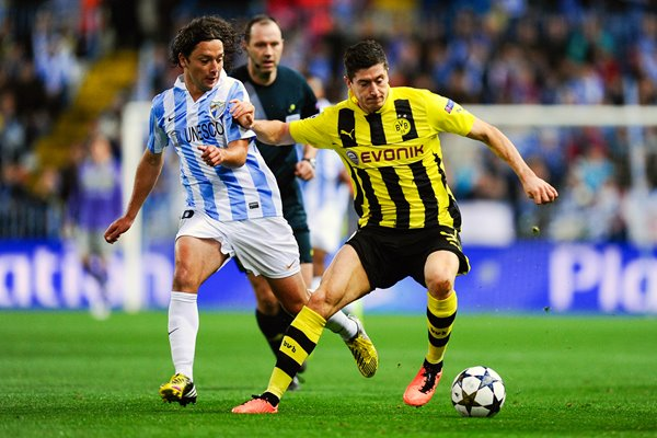 Robert Lewandowski of Borussia Dortmund v Malaga CF - Champions League