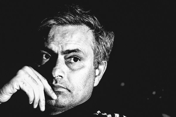 Jose Mourinho in black and white