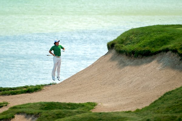 Rory McIlroy lost in bunker at Whistling Straights