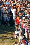 Dustin Johnson grounds club in bunker on 18th Prints