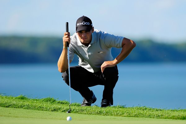 Martin Kaymer of Germany lines up a  putt - USPGA 2010
