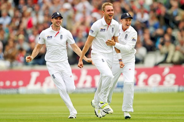Anderson and Root celebrate with Stuart Broad Lords 2013