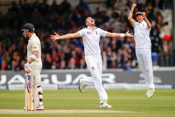 Stuart Broad celebrates dismissing Brendon McCullum Lords 2013