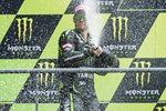 Cal Crutchlow celebrates 2nd place France Moto GP 2013 Canvas