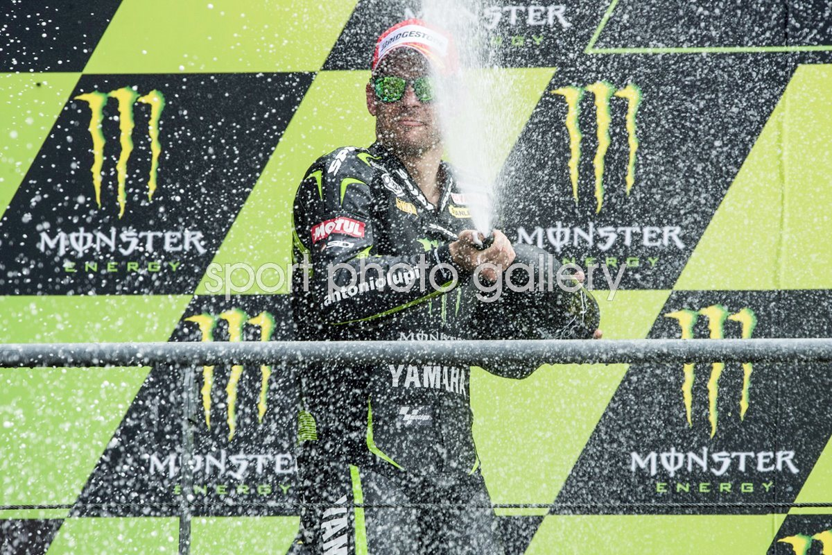 Cal Crutchlow celebrates 2nd place France Moto GP 2013
