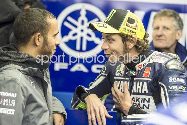 Valentino Rossi and Lewis Hamilton Moto GP Of France 2013