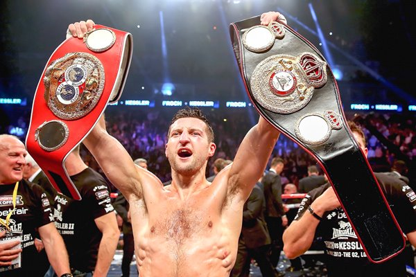 Carl Froch with IBF and WBA belts after beating Kessler 2013