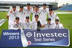 Alastair Cook & England Test Series winners v New Zealand 2013 Prints