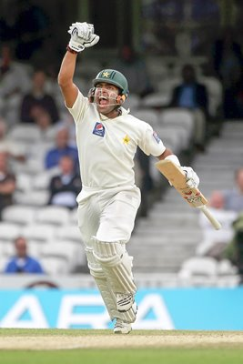 Umar Akmal of Pakistan shows his delight