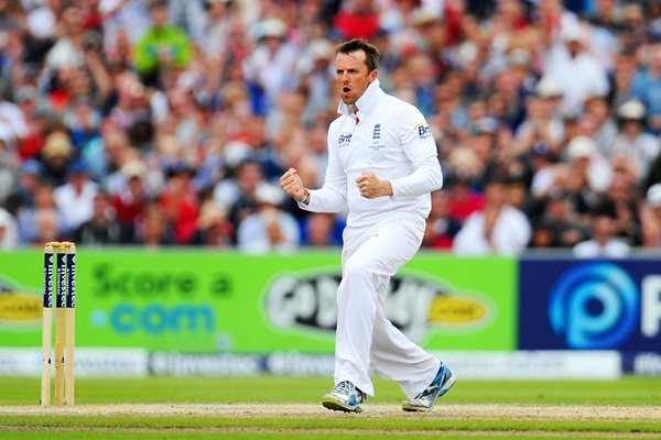 Graeme Swann England celebrates 3rd Ashes Test 2013