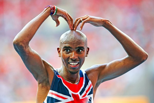 "Mo Farah ""Mobot"" after winning 10,000m Gold Moscow 2013"