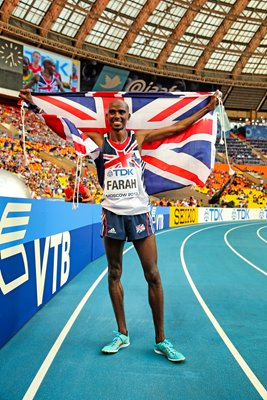 Mo Farah wins Gold 10,000m Gold Worlds Moscow 2013