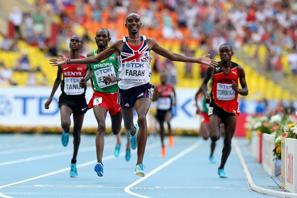 Mo Farah World 10,000m Champion Moscow 2013