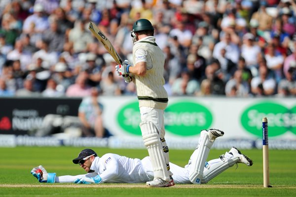 Matt Prior diving catch off Rogers Durham Ashes 2013