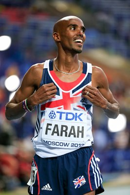 Mo Farah wins Gold 5,000m Gold Worlds Moscow 2013