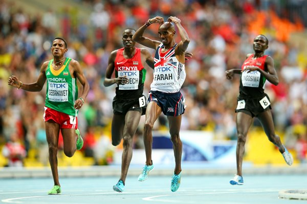 Mo Farah wins 5000m World Athletics Moscow 2013