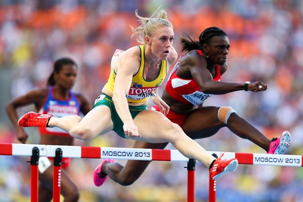 Sally Pearson & Dawn Harper Hurdles World Athletics Moscow 2013