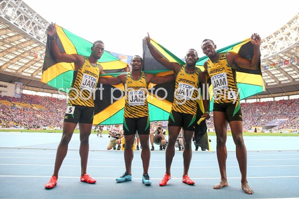 Jamaica 4x100m relay winners World Athletics Moscow 2013