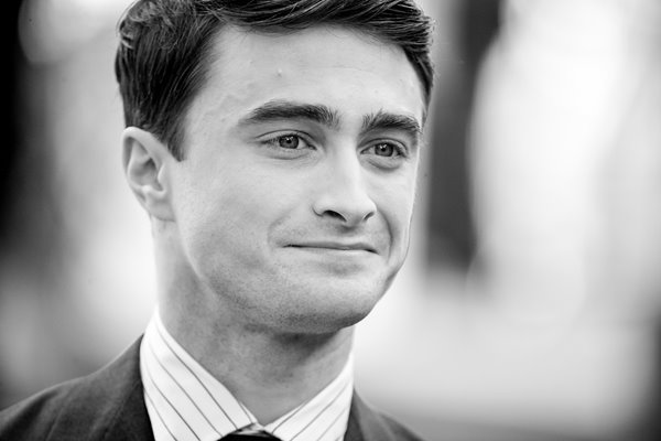 Actor Daniel Radcliffe black and white portrait 2013