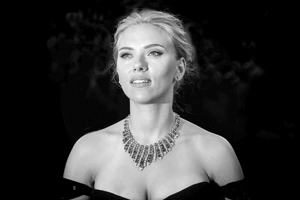 Scarlett Johansson black and white portrait