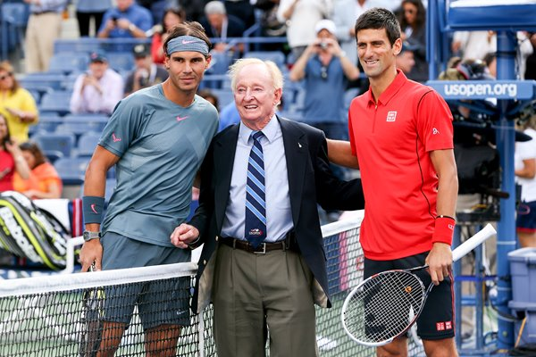 Rod Laver with 2013 US Open Finalists Nadal & Djokovic