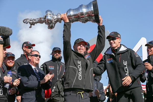 Larry Ellison Team USA lifts America's Cup San Francisco 2013