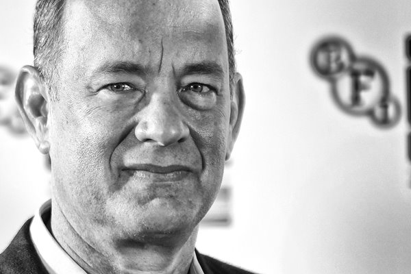 Actor Tom Hanks in Black and White