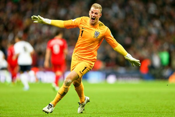 Joe Hart celebrates England v Poland Wembley 2013