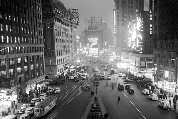 Times Square At Night 1930s