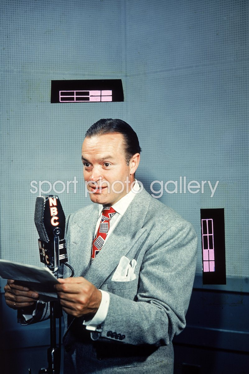 Bob Hope Speaks At NBC Microphone