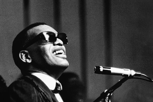 Ray Charles Performing At Mic