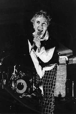 Johnny Rotten on stage with PIL