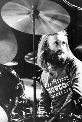 Phil Collins behind his drumkit