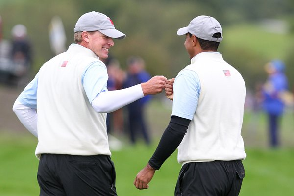 Woods & Stricker celebrates Day 1 Fourball win