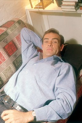 British actor Sean Connery relaxing 1955