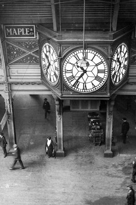 The giant clock at Paddington Station in London