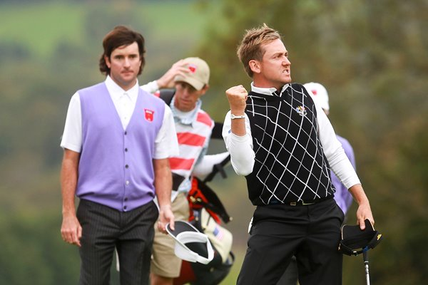 Ian Poulter celebrates - Day 2 Foursomes