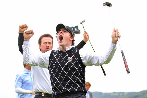 Rory & GMac celebrate huge putt on 17