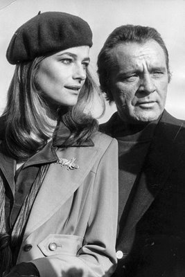 Charlotte Rampling with Richard Burton 1974