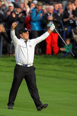 Francesco Molinari celebrates vital putt on 18
