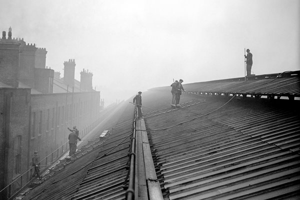 Cleaning the roof of King's Cross Station