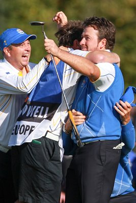 Graeme McDowell mobbed after winning point
