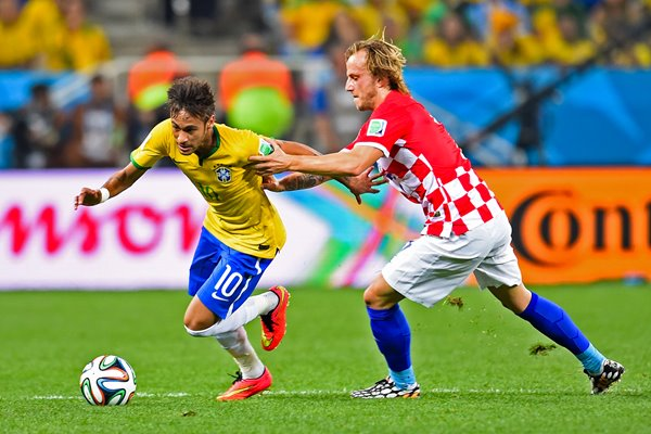 Neymar Brazil v Ivan Rakitic Croatia World Cup 2014