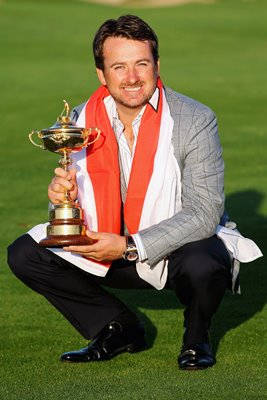 Graeme McDowell with Ryder Cup trophy