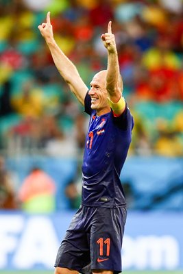 Arjen Robben celebrates 2014 World Cup