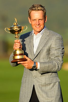 Luke Donald with the Ryder Cup trophy