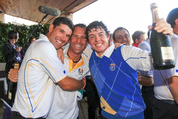 Sergio celebrates with Padraig and Rory
