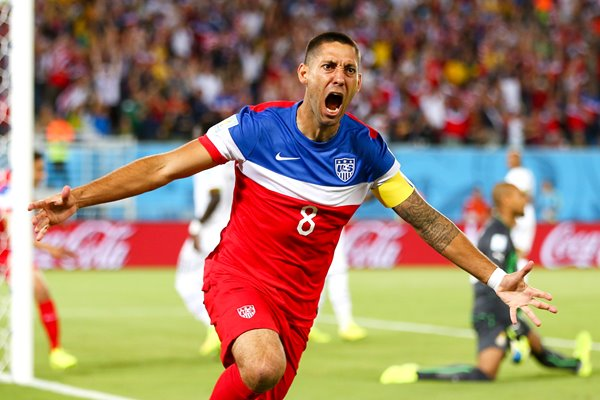 Clint Dempsey celebrates for USA 2014 World Cup