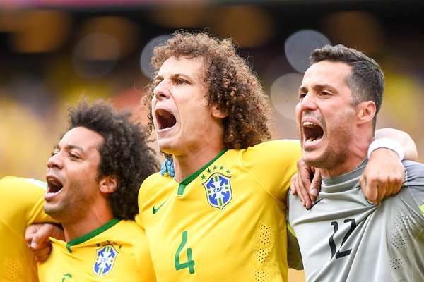 David Luiz with Marcelo and Julio Cesar Brazil v Mexico World Cup Brazil 2014